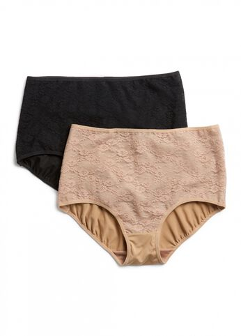 Bella 2 Pack Basic Knit Lace Brief