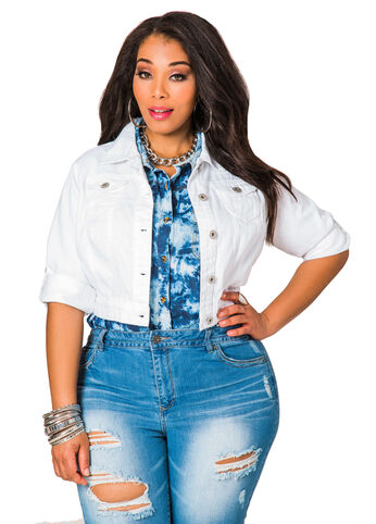 Tab Sleeve Crop Denim Jacket