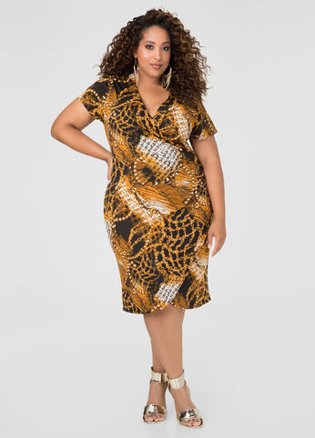 Ruched Status Print Dress