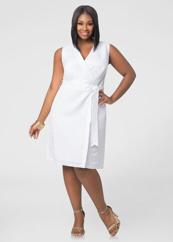 Faux Wrap Linen Dress