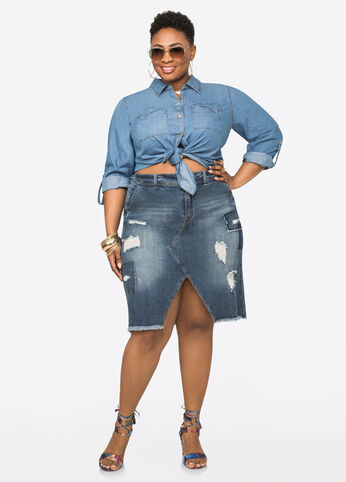 Patchwork Front Slit Jean Skirt Medium Blue - Jeans
