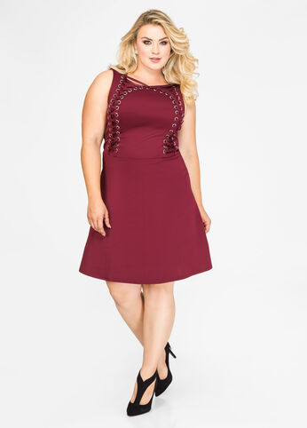 Lace-Up Grommet Skater Dress