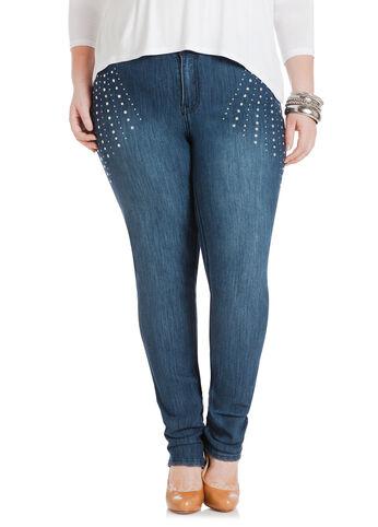 Rhinestone & Silver Studded Skinny Jeans