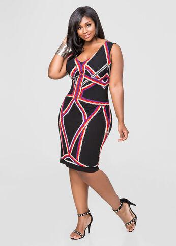 Geo Stripe Sheath Dress.