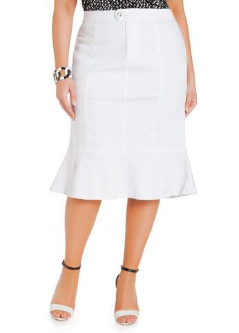 Flounce Hem Twill Skirt