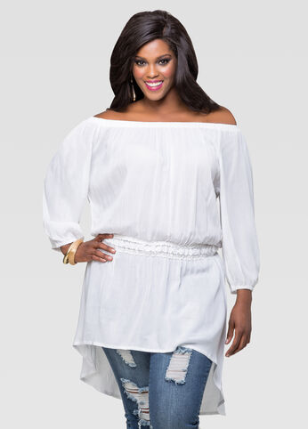 Off Shoulder Gauze Peasant Top