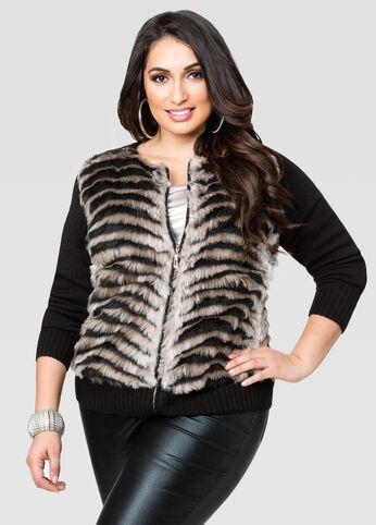 Fur Front Zip Cardigan
