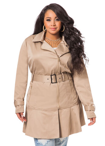 Ruffle Bottom Trench Coat