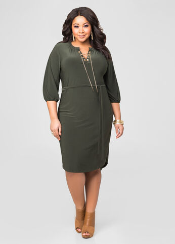 Chain Neck Hi-Lo Dress