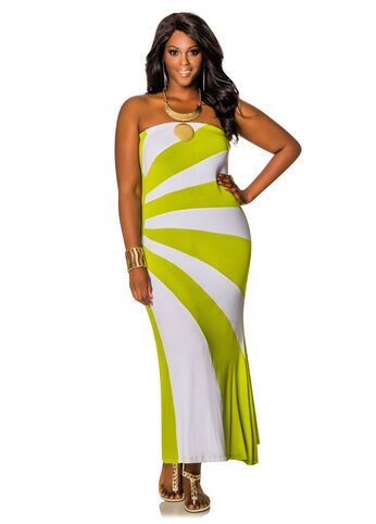 Strapless Sunburst Maxi Dress