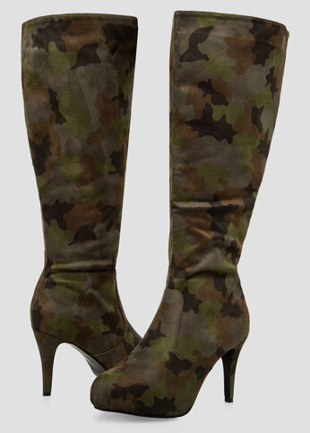 Suede Camo Tall Boot - Wide Calf, Wide Width