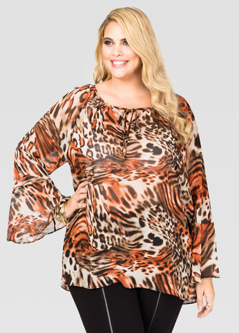 Animal Print Lace-Up Blouse Tigers Eye - Tops