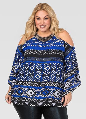 Embellished Tribal Cold Shoulder Blouse