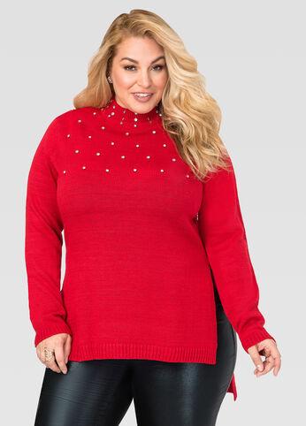 Stone Embellished Mock Neck Sweater