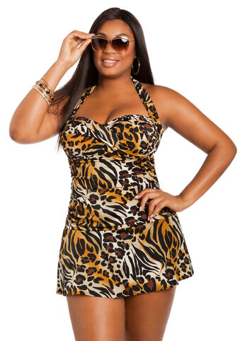Leopard Halter Swimdress