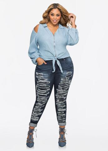 Vertical Destructed Skinny Jean