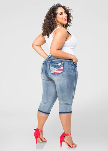 Stars And Stripes Capri Jeans