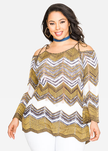 Chevron Crochet Cold Shoulder Top