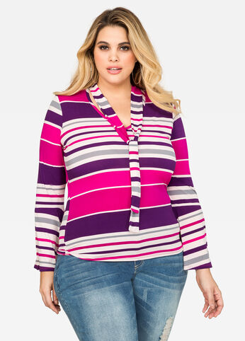 Striped Tie Neck Bell Sleeve Top
