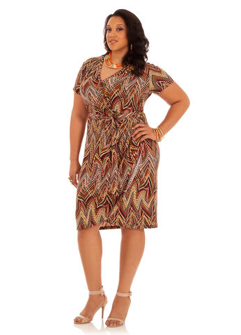 Tribal Print Belted Wrap Dress