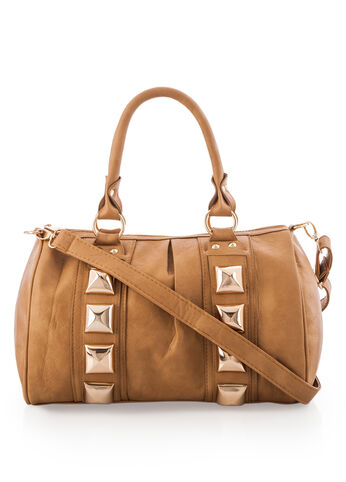 Large Pyramid Stud Crossbody Satchel