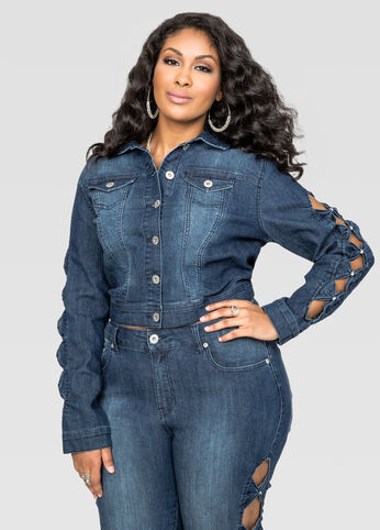 Stone Sleeve Cut-Out Denim Jacket