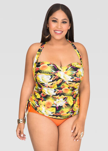 Tropical Power Mesh Halter Tankini