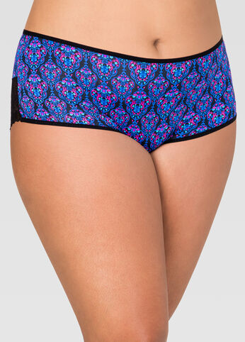 Printed Microfiber Lace Back Panty