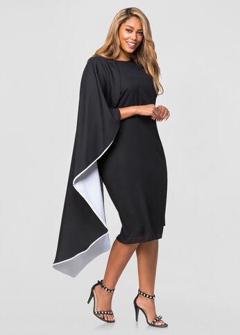 Two-Tone Half Cape Dress