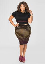 Ombre Geo Slim Skirt