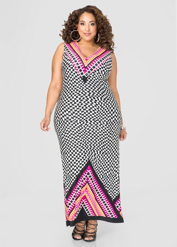 Clear Sequin Geo Maxi Dress