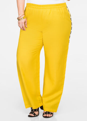 Tribal Side Wide Leg Linen Pant Dandelion - Bottoms