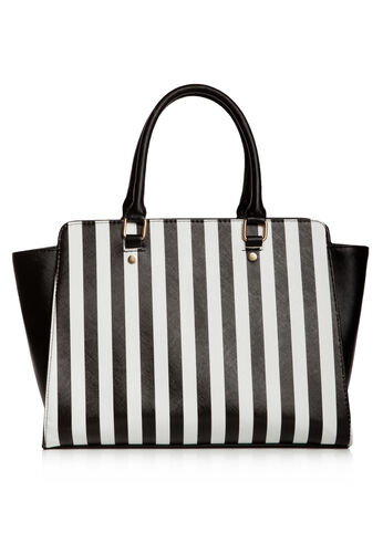 Striped Satchel Bag