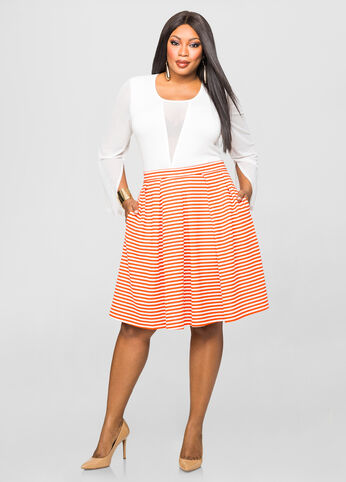 Pleated Ottoman Stripe Skirt