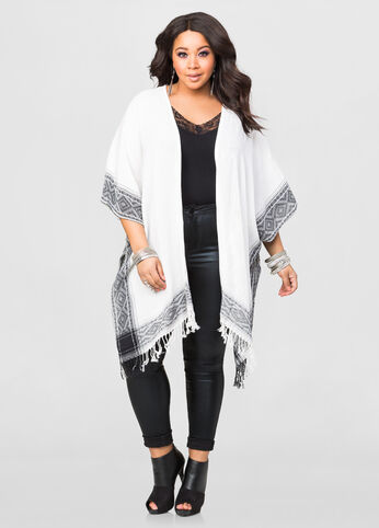 Short Sleeve Fringe Wrap