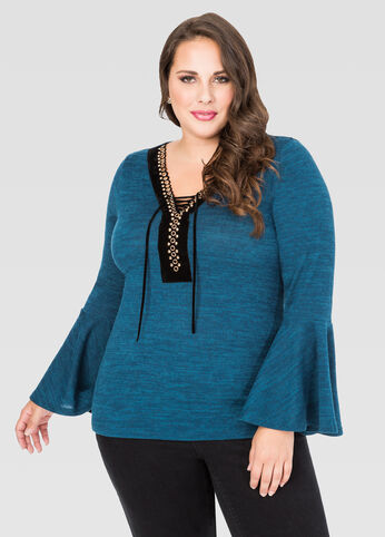 Grommet Lace-Up Bell Sleeve Sweater