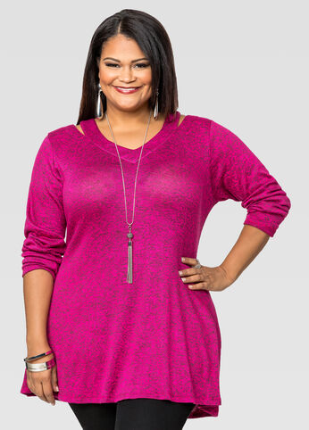 Marled Cold Shoulder Tunic Sweater
