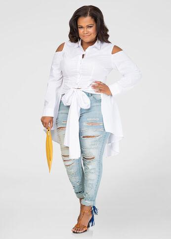Cold Shoulder Hi-Lo Tie Front Shirt