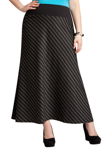 A-Line Striped Knit Skirt