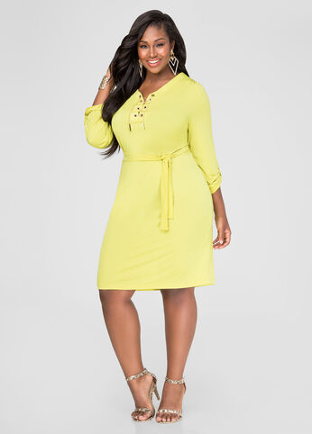 Plus Size Chain Link Shirtdress in Yellow - Front