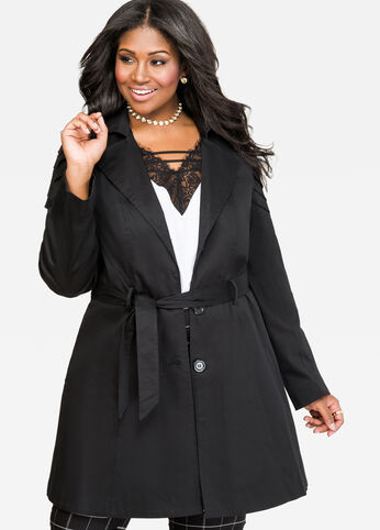 Pleat Shoulder Trench Coat