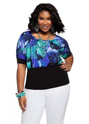 Web Exclusive: Banded Tropical Print Top