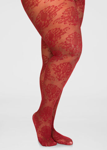 Sheer Medallion Footed Tights