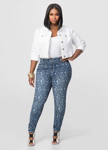 Scarf Print Skinny Jeans
