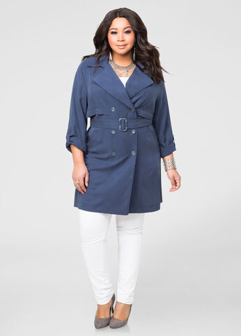 Lyocell Denim Belted Trench