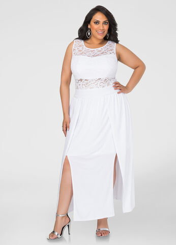 Plus Size Double Split Special Occasion Dress in White - Front