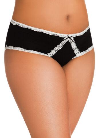 Lace Trim Cotton Hipster Panties