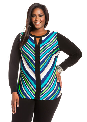 Chevron Stripe Tunic Top