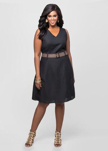 Belted A-Line Linen Dress
