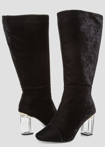 Velvet Lucite Knee High Boot - Wide Calf, Wide Width Black - Shoes